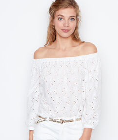 3/4 sleeves top white.