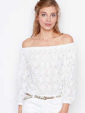 Top en coton épaules dénudées blanc.