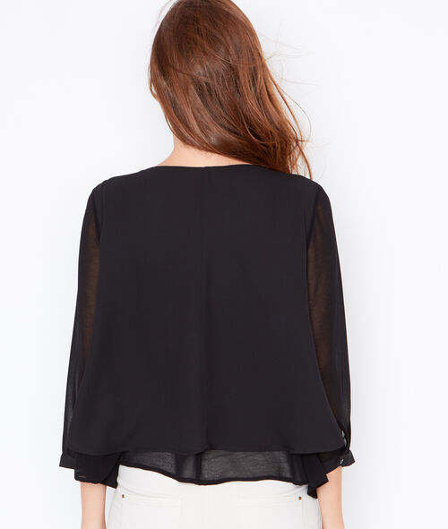 Layered top with sheer sleeves