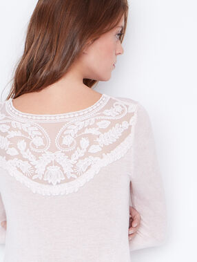 Fine sweater with lace back detail light pink.