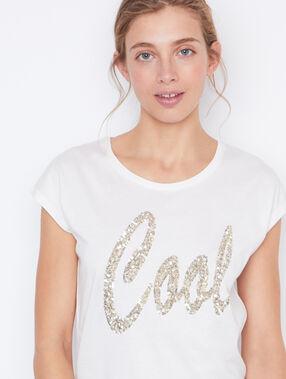 T-shirt à strass blanc.