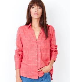 Chemise à carreaux en coton vermillon.