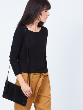 Split leather clutch bag black.