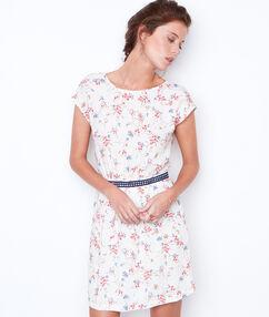Flowers short sleeve dress white.