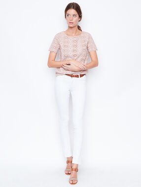 Lace short sleeve top pink.