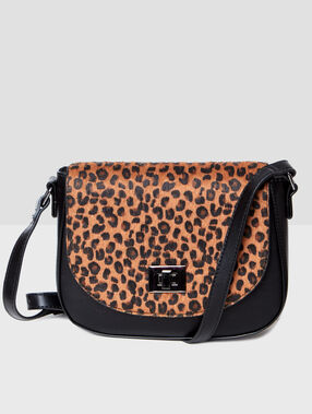 Leopard printed bag black.