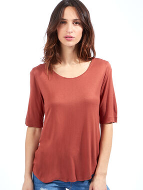 T-shirt manches 3/4 en viscose marsala.
