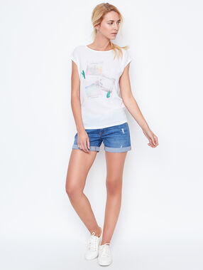 T-shirt manches courtes blanc.