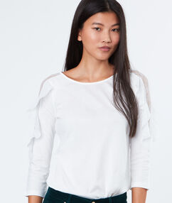 Layered sleeves top white.