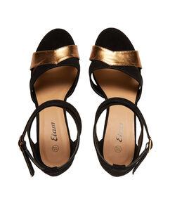 Sandales bicolores à talons noir/or.
