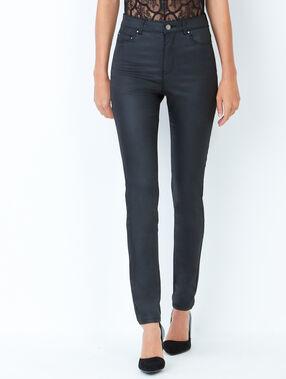 Pantalon skinny enduit noir.