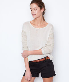 Pull maille fine perles dans le dos beige.