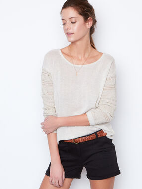 Open back sweater beige.