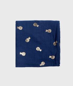 Foulard imprimé ananas bleu marine.