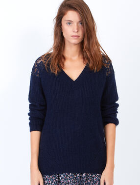 Knitted v-neck jumper with lace inserts midnight blue.