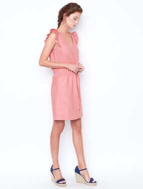 Sleeveless flared dress pink.