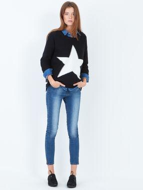 Pull étoile contrastée noir.