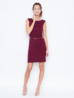 Belted dress plum.