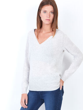 Cashmere v-neck sweater heather grey.