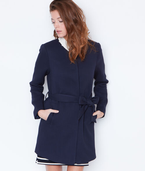 Belted round collar coat