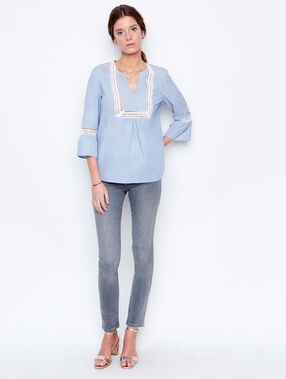 3/4 sleeve blouse blue.