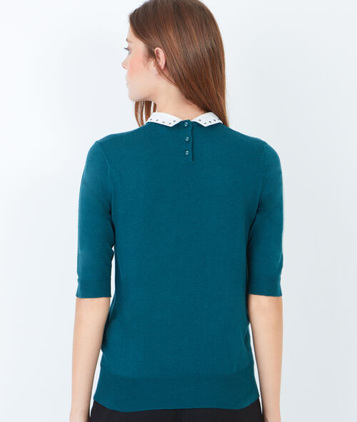 Pull fin col chemise contrasté