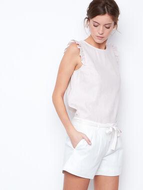 Short en lin, ceinture brillante blanc.