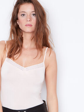 Tank top with guipure detail nude.