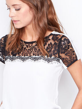 Lace short sleeve top white.