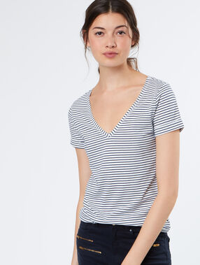 Cotton stripped t-shirt white.