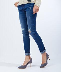 Escarpins effet daim, détail doré gris bleu.