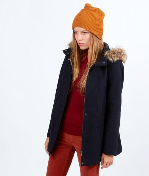 Manteau en laine, capuche fausse fourrure