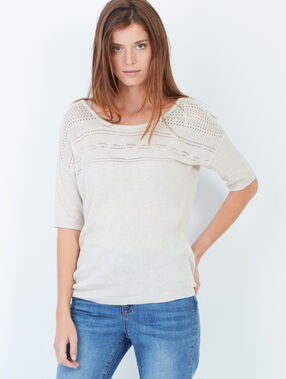 Short sleeve top with back detail beige.