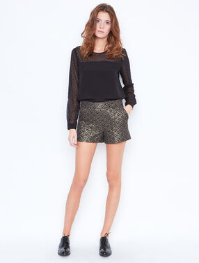 Blouse with lace inserts black.
