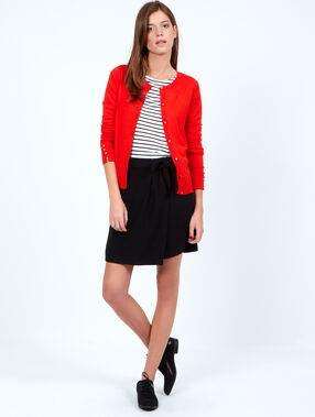 Cardigan fin en viscose rouge.