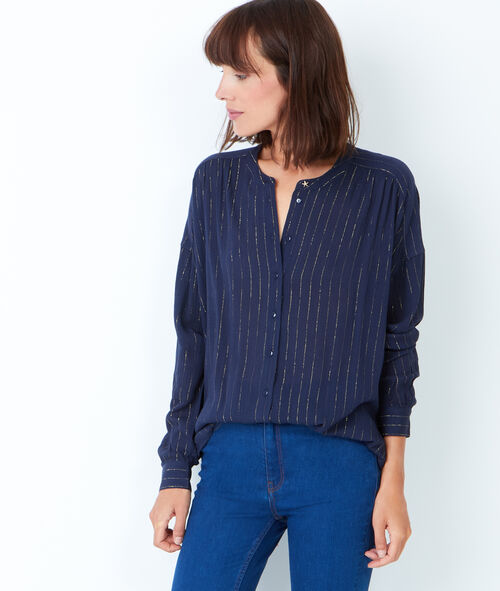 Collarless shirt with fine stripes