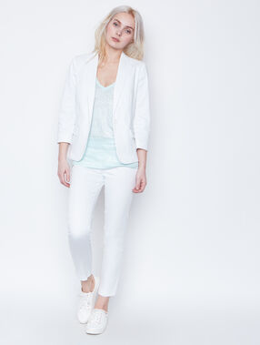 Pantalon uni blanc.