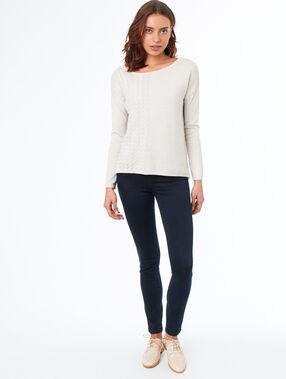 Cotton slim pants raw.