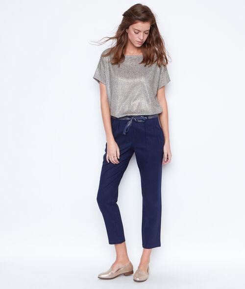 Pantalon en lin, ceinture brillante
