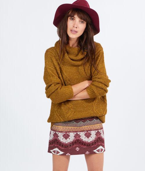 Pull tricot lurex, col cheminée