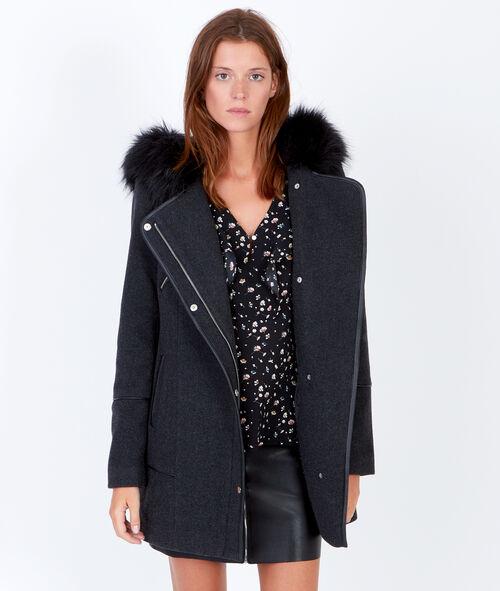 Manteau en laine à capuche, détails effet cuir