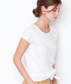Top manches courtes noué blanc.