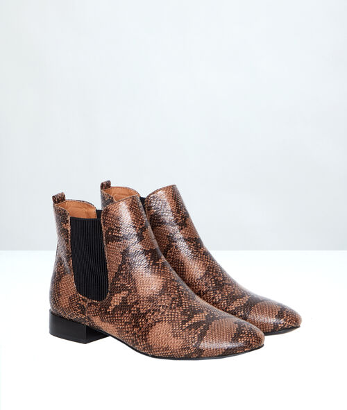 Bottines chelsea effet serpent