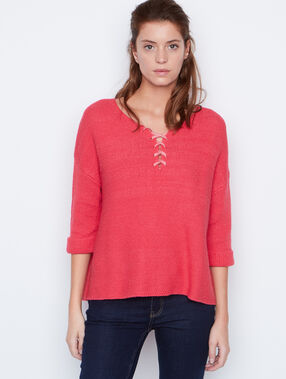 Pull manches 3/4 à lacets corail.
