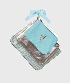Set of 3 pouches blue.