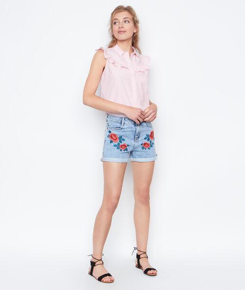 Short en jean brodé fleurs
