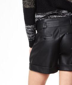 Short effet cuir noir.
