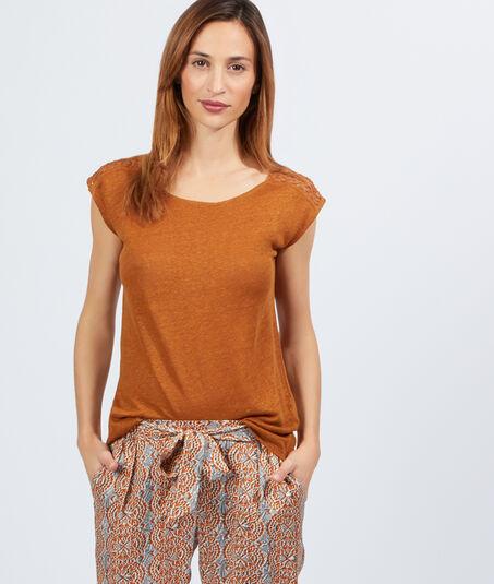 BELLET-shirt en lin, empiècement guipure épaules et dos