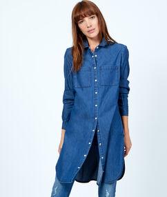Chemise en jean longue bleu.