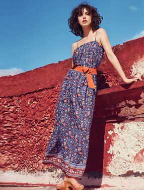 Printed maxi dress blue/rust.